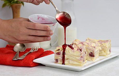 לזניה גבינה מתוקה ודובדבנים