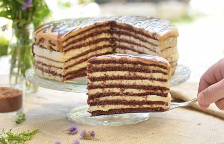 עוגת מדוביק שוקולד עם קרם פרש וריבת חלב