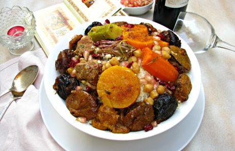 קוסקוס חגיגי עם פירות יבשים ממולאים בשר טלה