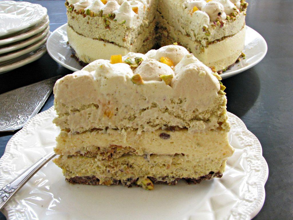 עוגת מוס פיסטוק, מוס וניל וקפה חגיגית
