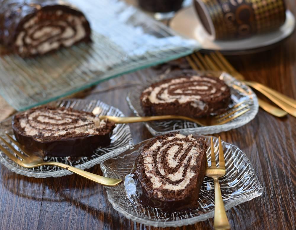 רולדת שוקולד במילוי קרם קפה