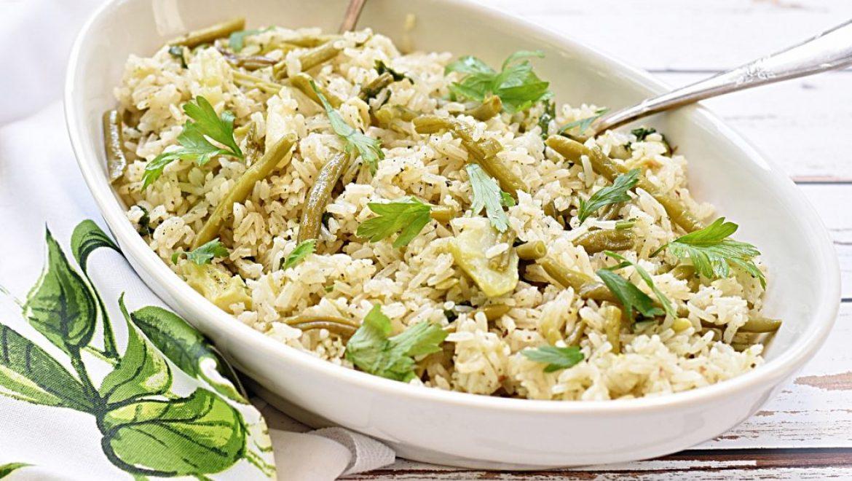 אורז  עם ברוקולי ושעועית ירוקה