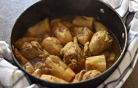 תבשיל תפוחי אדמה ירושלמיים ועוף