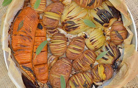 תפוחי אדמה, בטטה ובצל בתנור