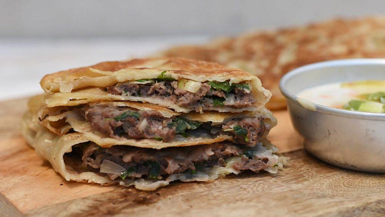 פנקייק סיני במילוי בשר ועשבי תיבול