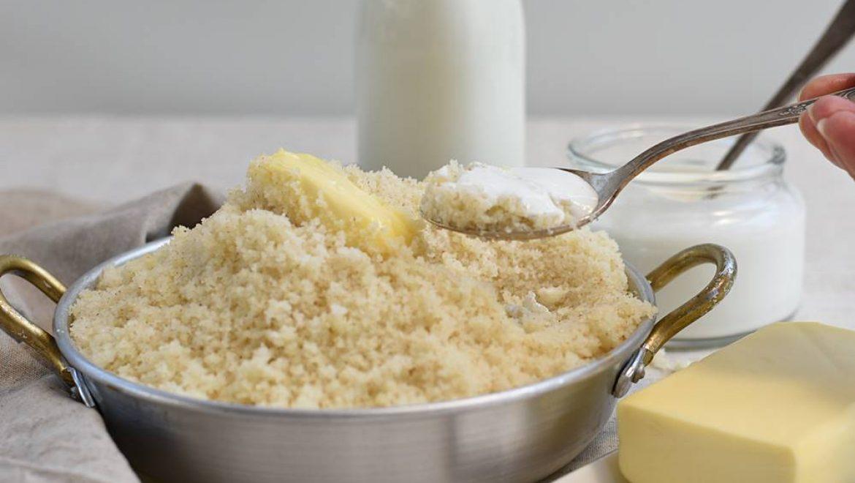 קוסקוס חלבי עם חמאה ולבן