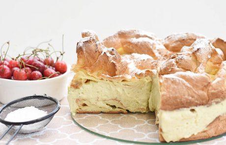 עוגת פחזנייה גדולה(Karpatka) וקרם מסקרפונה – פיסטוק