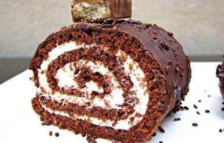 רולדות שוקולד במלית קרם וניל וקרם קפה