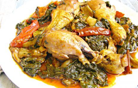 תבשיל סלק עלים עם עוף בתיבול פיקנטי