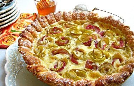 טארט בצק עלים, קרם פטיסייר ותפורינה (תפוח ונקטרינה)